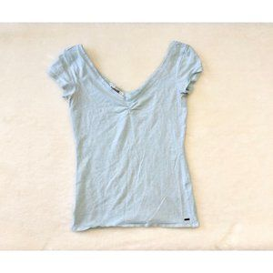 *2/$20* Garage Light Blue V-Neck Short Sleeve